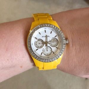 Yellow Fossil Watch with diamond face